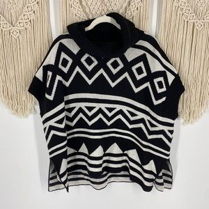 Old Navy Aztec Poncho Cowl Neck Knit Sweater